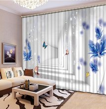 luxury curtains custom 3d blackout curtains Butterfly pattern curtains window treatments living room