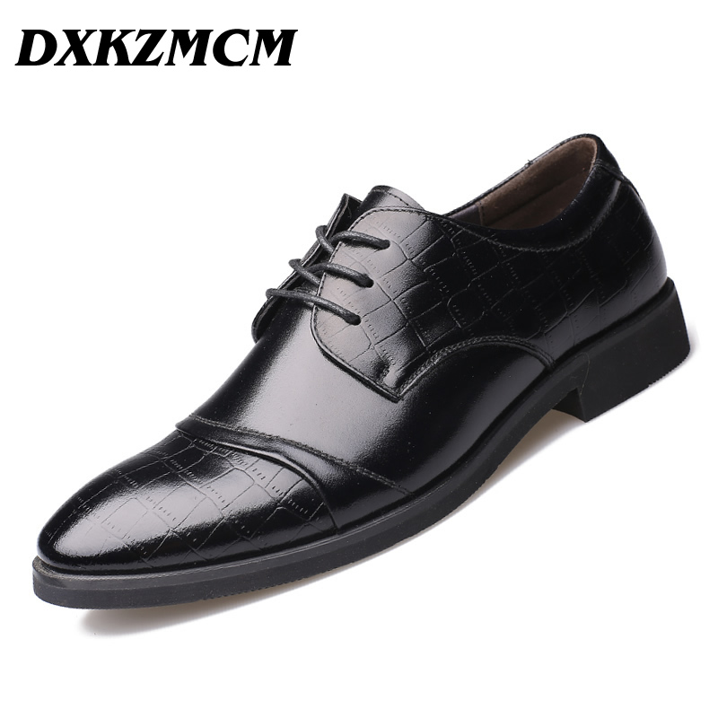 DXKZMCM High Quality Split Leather Men Oxfords ,Lace-Up Business Men Shoes Wedding Shoes, Men Dress Shoes qianruiti men alligator gold loafers metal toe business wedding oxfords high quality lace up slippers men dress shoe eu39 eu46