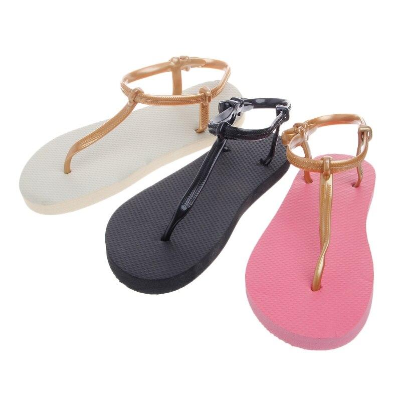 все цены на New Roman Non-Slip Thong Women Sandals Shoes T-Strap Block Slippers femme 2018 Summer Beach Flip Flops Flat Sandals