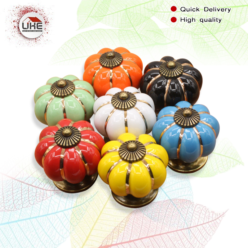 UKE Pumpkin Ceramic Handles 40mm Drawer Knobs Cupboard Door Handles Single Hole Cabinet Handles With Screws Furniture Handles