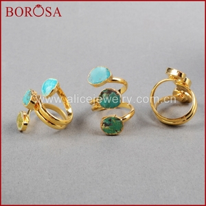 Image 5 - BOROSA Böhmen 100% Natürliche Blau Stein Drusy Ringe Vintage Türkisen Verkrustete Ring Gold Überzug Edelsteine Ringe für Frauen Geschenke G0280