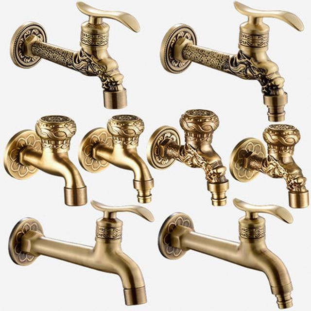Artistic Wall Mount  Cold Water Basin Faucet Brass Antique Washing Machine Taps Bathroom Mop Pool Taps Bibcocks