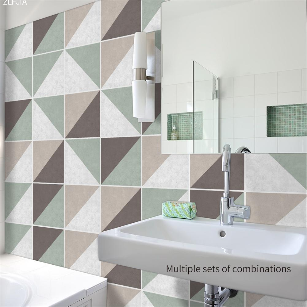 10pcs/set Skew Lattice Concrete Style Tile Wall Stickers Bathroom ...