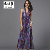 Floral Maxi Dress Women Fashion Elegant Party Vestidos Boho Chic Casual Hot Sale Halter Long Dress