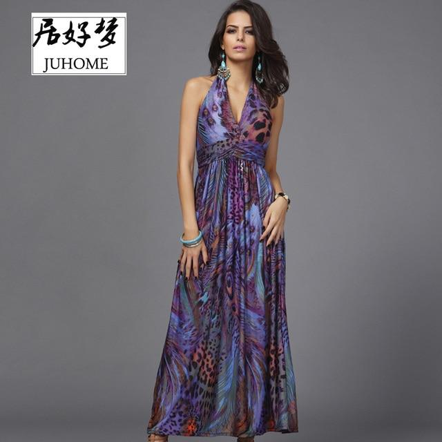 675f7c918bb45 Vestido maxi floral de las mujeres de moda elegante fiesta Vestidos boho  chic Casual Venta caliente