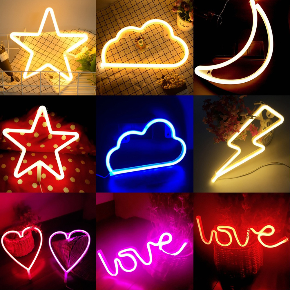 LED Neon Sign Light Love Lightning Cloud Moon Star Neon Light Photography Prop Room Shop Wedding Decoration Christmas Light D35
