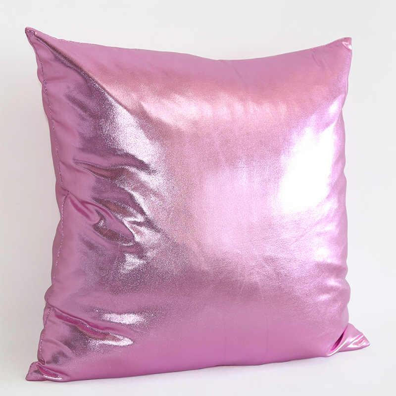 45*45cm זהב רדיד בד PU חיקוי כיכר מוצק צבע כרית כיסוי זהב רדיד בד ספה רכב כיסא כרית כיסוי עיצוב בית
