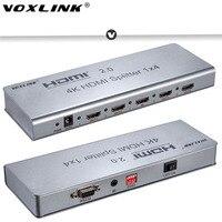 VOXLINK 1x2/1x4/1x8 HDMI2.0 Divisor 1080 P 4 K 3D HDMI Splitter Switcher Soporte 4 K/60 HZ HDCP2.2 EDID RS232 para PC DVD