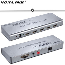 VOXLINK 1×2/1×4/1×8 HDMI2.0 Splitter 1080P 4K 3D HDMI Splitter Switcher Support 4K/60HZ HDCP2.2 EDID RS232 for PC DVD