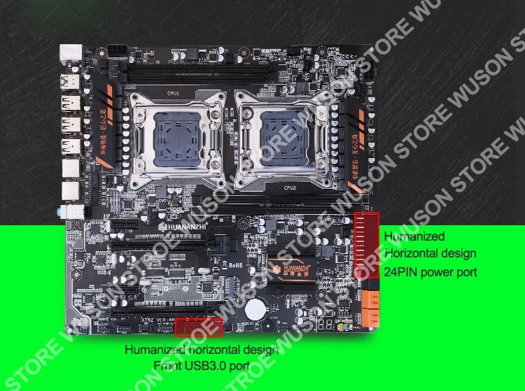 HUANANZHI X79 Dual Processor Motherboard Combo M.2 SSD Slot 2 Xeon E5 2670 6 Tubes CPU Coolers 4*16G 64G RAM RECC Build Computer 4