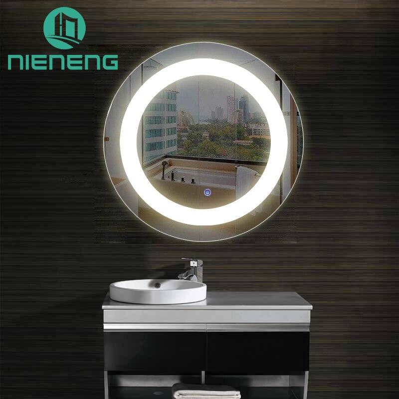 Nieneng Illuminated Demist Lighted Vanity Make up Heated Mirror Bathroom Makeup Round LED Light Mirror Dimmer Defogger ICD90112 декор lord vanity quinta mirabilia grigio 20x56