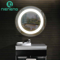Nieneng Illuminated Demist Lighted Vanity Make up Heated Mirror Bathroom Makeup Round LED Light Mirror Dimmer Defogger ICD90112