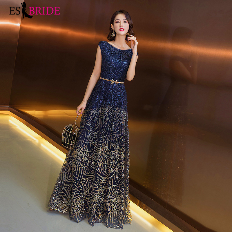 Formal   Evening     Dresses   2019 Royal Blue Sexy A Line Sleeveless Backless Party Gowns with Split Fashion Robe De Soiree ES1411