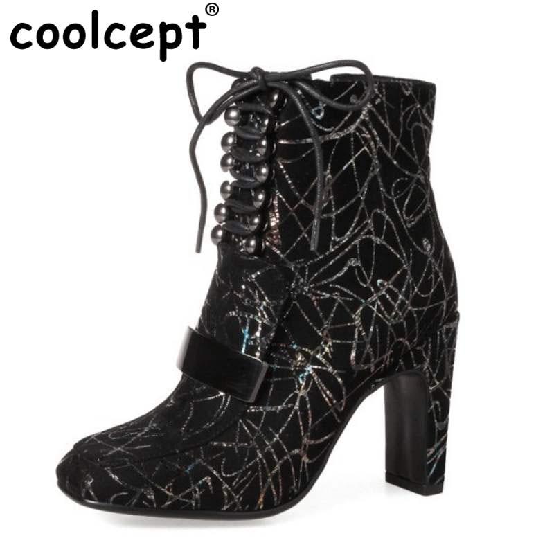 Coolcept Women Real Leather High Heel Boots Rivet Cross Strap Metal Short Boots Print Warm Shoes Winter Women Botas  Size 34-39