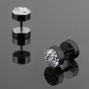 JETTINGBUY 1Pair Punk Ear Studs Stainless Steel Crystal Men