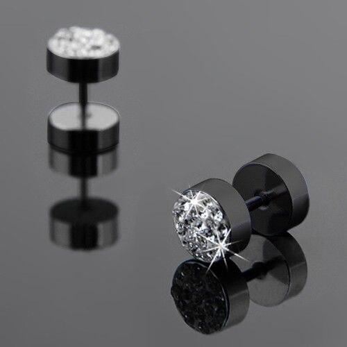 1Pair Black/Silver Men Barbell Punk Ear Studs Trendy Round Stainless Steel Crystal Rhinestone Stud Earrings For Men