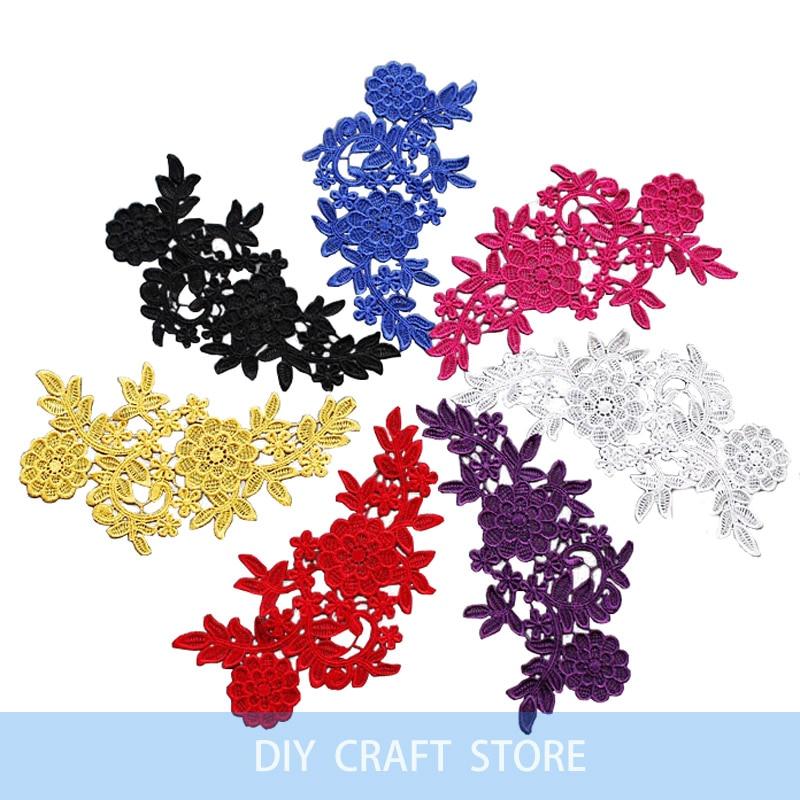 2 unids = 1 par 26 * 15 cm bordado floral soluble en agua de costura - Artes, artesanía y costura - foto 1