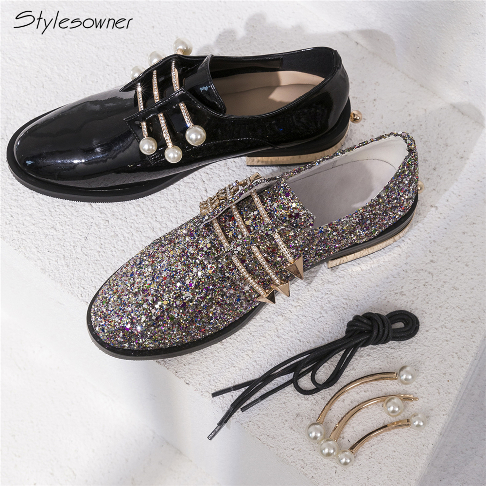 Stylesowner Shining Bling Lace Up Single Women Shoes Metal Ball Pearl  Casual Shoes Lady Metal Arrows Shoes Crystal Bling Shoes 956f944362