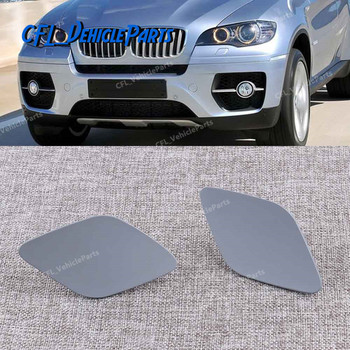 Pair L + R Headlight Washer Spray Nozzle Cover Cap Lid Primed 51657052427 51657052428 For BMW X5 E70 X6 E71 E72 2008-2013 image