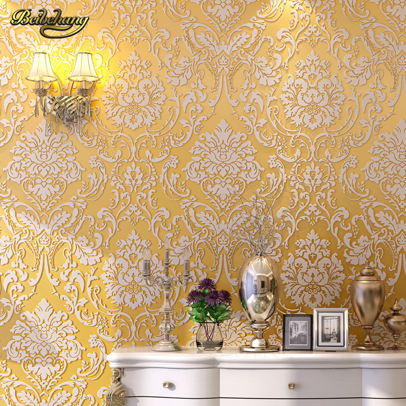 beibehang European non-woven wallpaper 3d sofa TV background hotel hotel living room bedroom relief three-dimensional wall paper