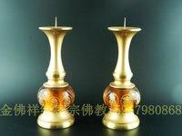 Taiwan Glass Boutique paragraph eight auspicious Buddhist supplies copper candlesticks 20151