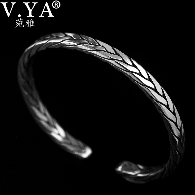 V YA 925 990 sterling silver bangle jewelry retro Thai silver embossed opening bracelet for men