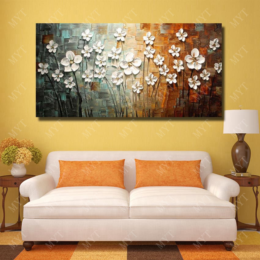 Chinese Wall Art Modern Living Room Wall Decor Flower Painting Large ...