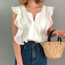 Summer Sexy Office Ladies White Simple Korean Women Blouses Casual Vintage Slim Ruffle Sleeve Japan Style Female Tops Shirts