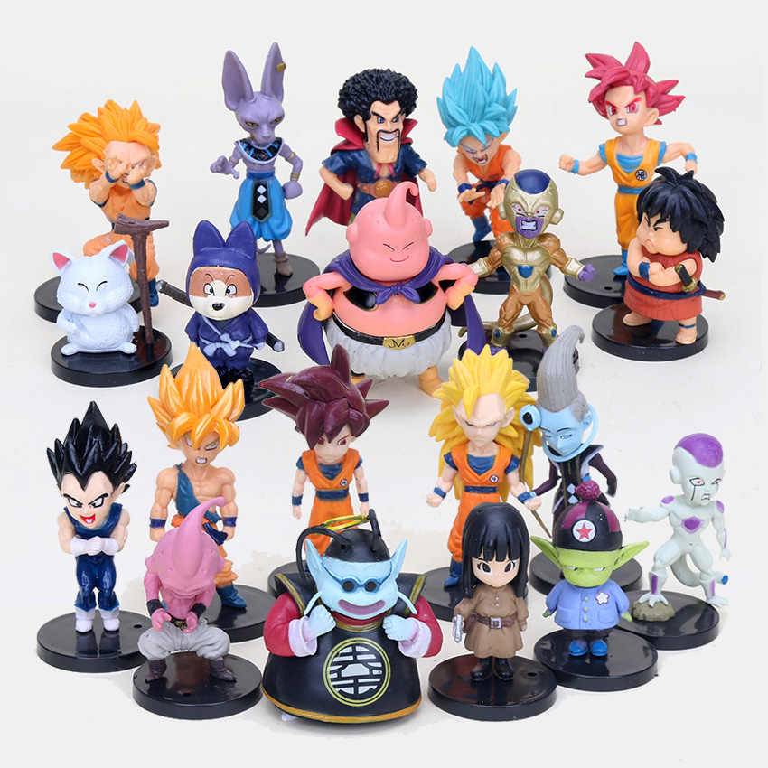 20 pçs/set Dragon Ball Z Super Saiyan Goku Buu Vegeta Freeza Beerus Ação PVC Figures Modelo Toy Em Saco