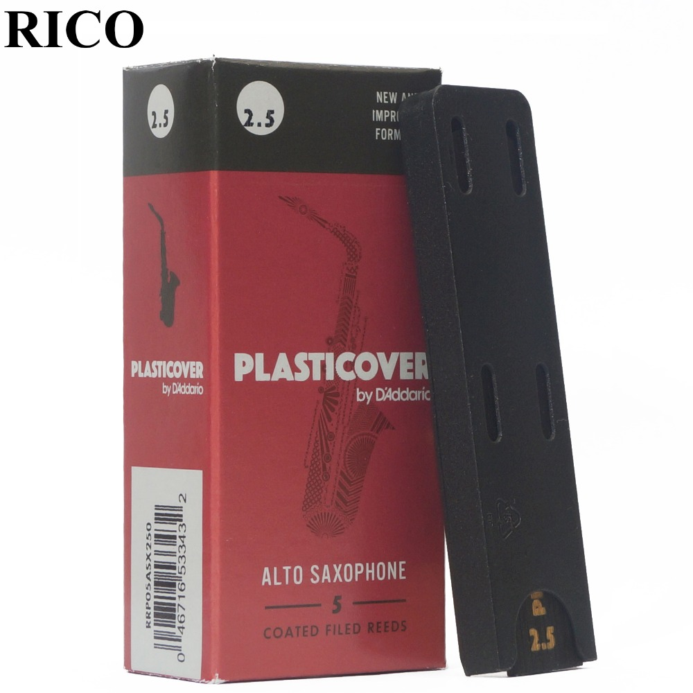 RICO Plasticover Eb alto sax reed 2,5 #, 3,0 #, 3,5 # caja de 5 saxphone reed