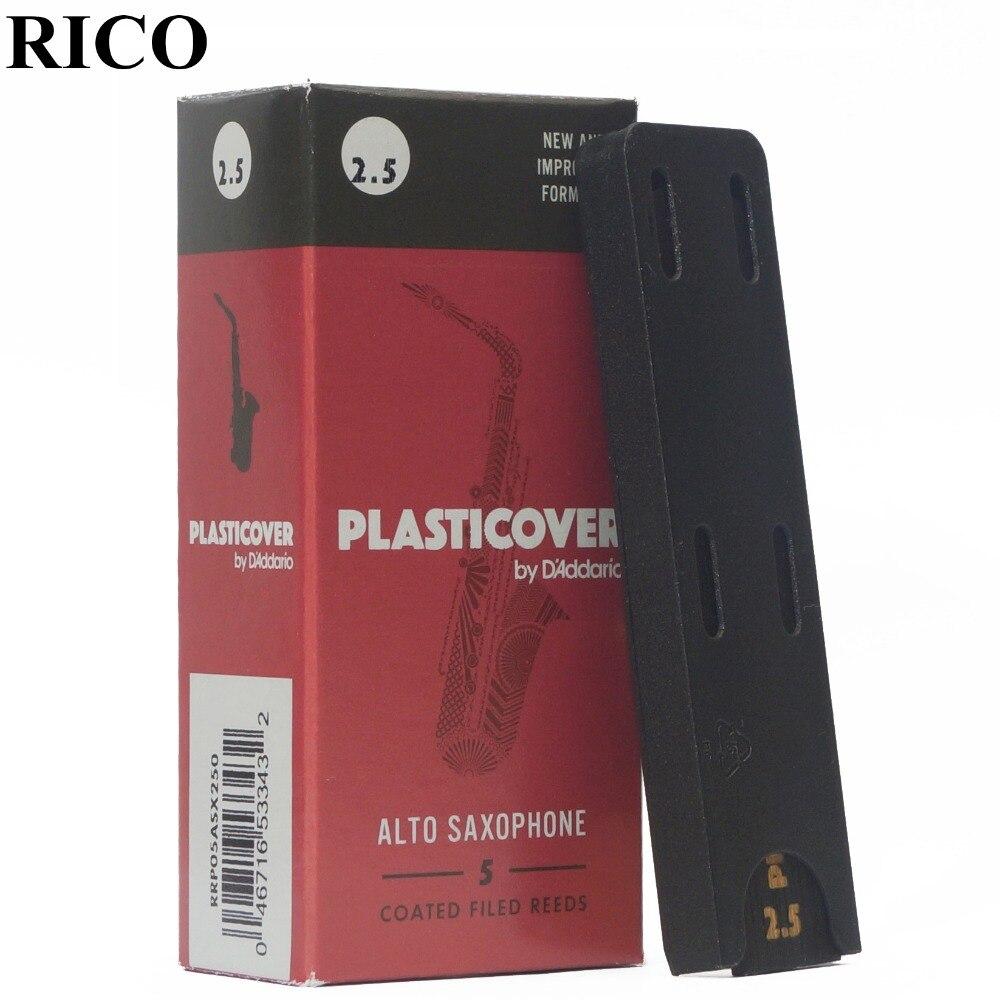 RICO Plasticover Eb sax alto cana 2.5 #, 3.0 #, 3.5 # Caixa de 5 saxofone cana