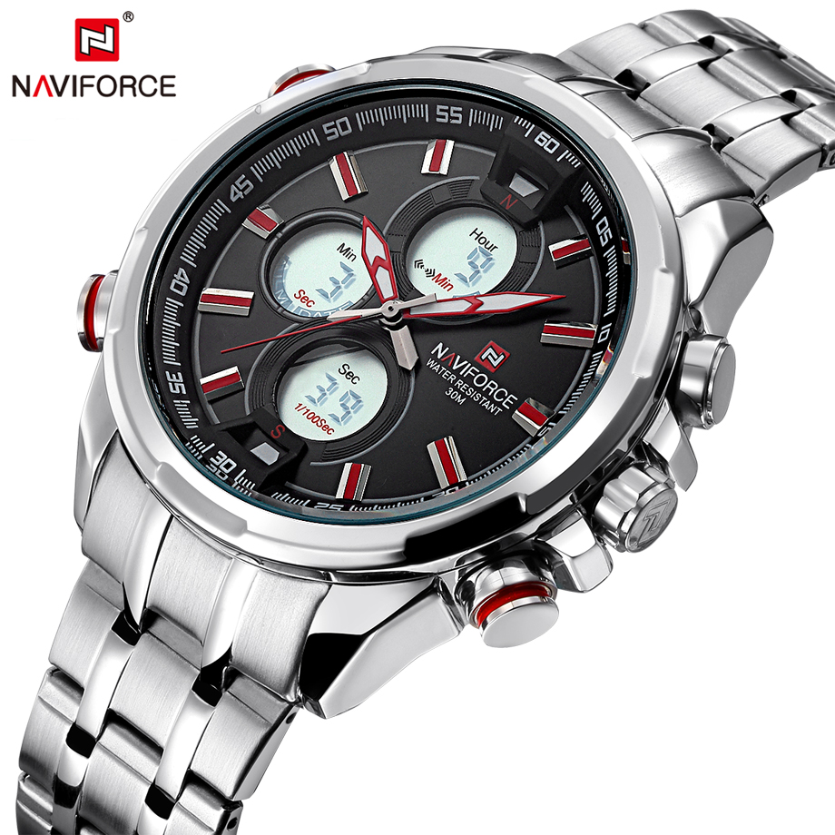 NAVIFORCE Mens Watch 2017 Hot Selling Full Steel Men Quartz Watches Fashion Casual Back Light Male Clock Saat Relogio Masculino hot selling fashion stainless steel men business watch clock male casual wristwatches relogio masculino luxury quartz watches 20
