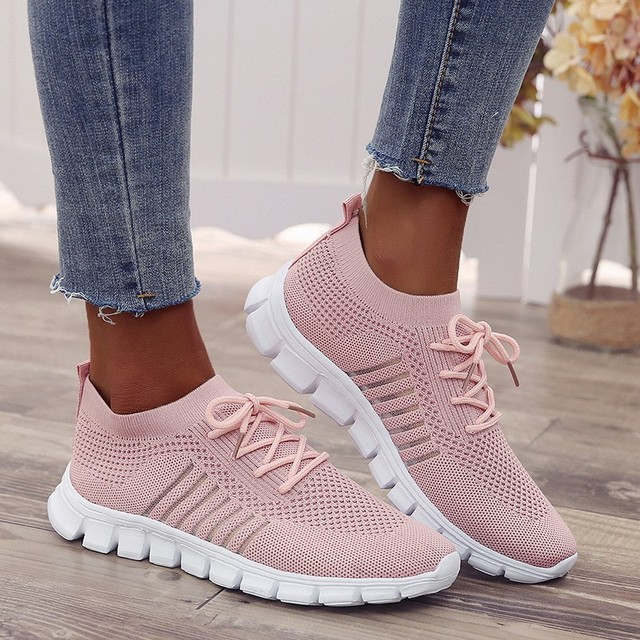 MAIJION Light Sneakers For Women Breathable Mesh Socks Running Shoes Female Outdoor Slip On Sport Shoes Lace Up Casual Flats