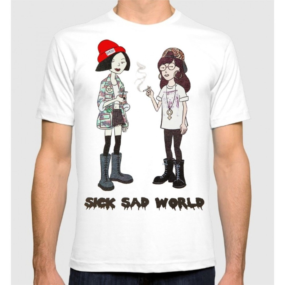 Harajuku New Daria T-shirt Sick Sad World Mens Womens Tee Funny Printing T Shirts Men Short Sleeve T-shirts