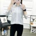 Women White Shirt Fold Cotton Blouse