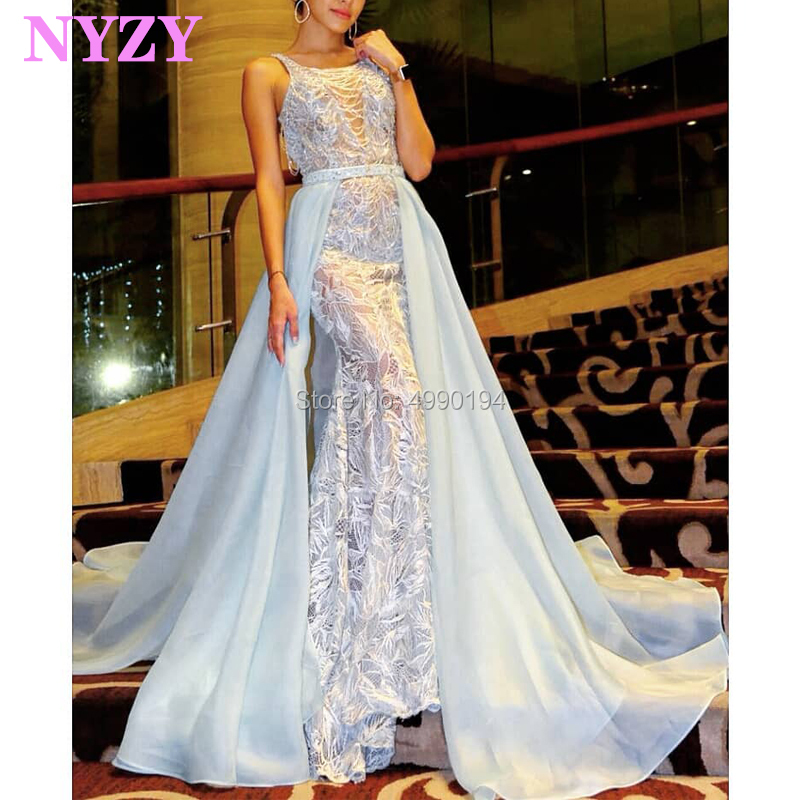 NYZY E84 Sexy See-though Embroidery Lace Vestidos De Gala Light Blue Mermaid Elegant Evening Dress Abendkleider 2019
