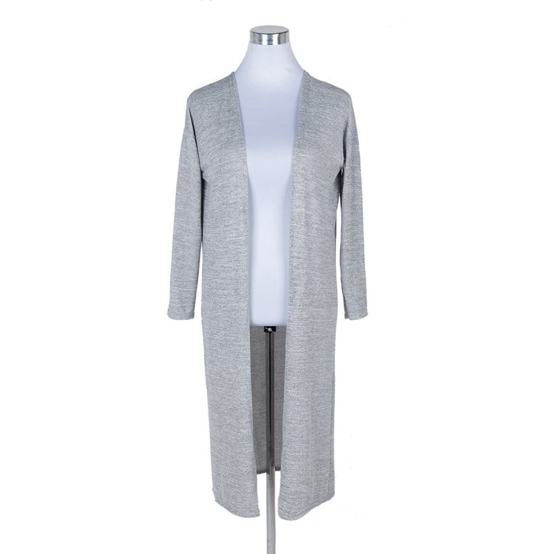 Singwing Autumn Women Thin Knitting Sweaters Cardigans Casual Gray black Crochet Knitted Sweater Long-sleeve Cardigan