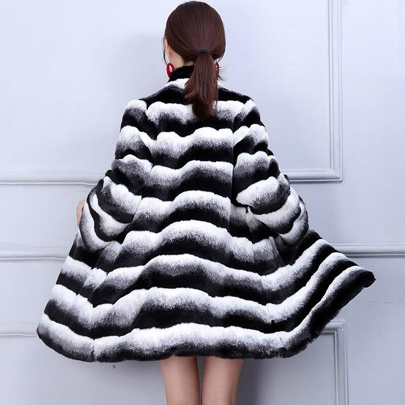 Veste Ayunsue Chaqueta Femme Black Taille Manteau De D'hiver Jaket Kj297 Femmes Fourrure Vison Rayé La Mujer Plus 6xl Famale Faux White rE71qar