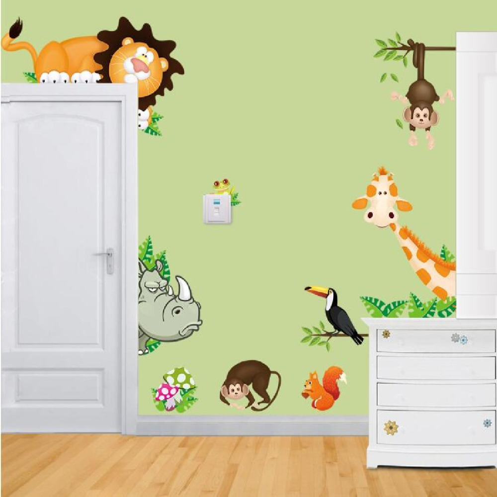 New Arrival Jungle Animal Zoo Kids Bedroom Removable Wall Stickers Decals Wallpaper Diy Mural Decor In From Home Garden On Aliexpress