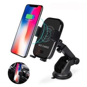 Image 1 - Rápido Carregador de Carro Sem Fio Sensor Infravermelho Automático Car Mount Air Vent Phone Holder Cradle para iPhone 8/8 Plus/X samsung S9 S8