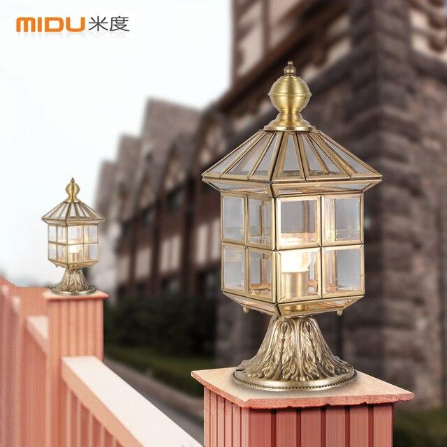 [Mido] European All Copper Lamp Post Lights, Outdoor Lights Walled Garden  Patio