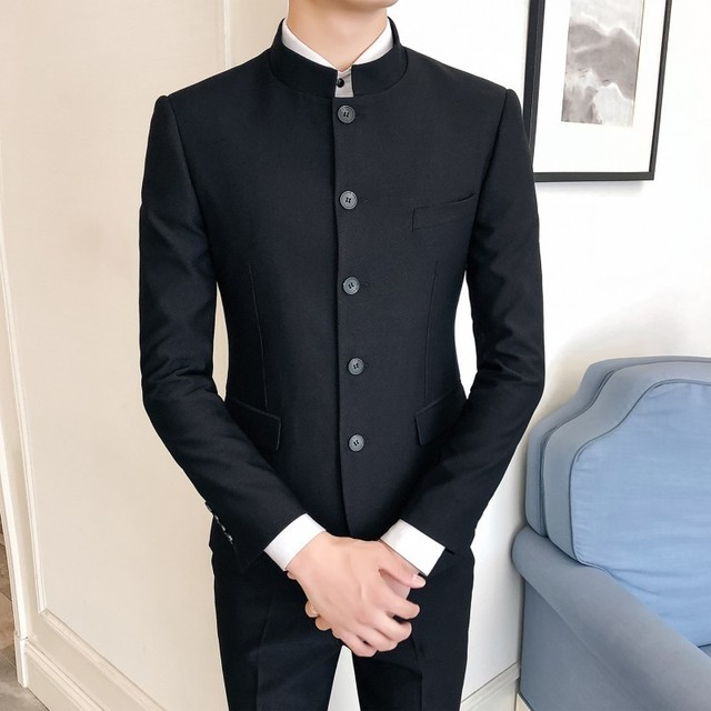 f6dc51b1b05 2 Pcs Chinese Collar Suit Men Stand Collar 2018 New Business Casual Costume  Mariage Homme Terno Masculino Mandarin Collar Suit