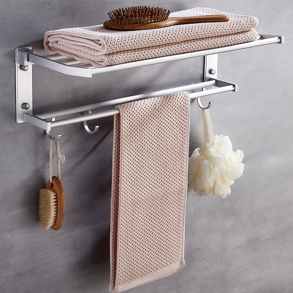 Sponge Holder With Steel Organizer 40cm New Bathroom Towel Storage Shelf Stainless Hook Soap Racks Wall Clothes Foldable Mounted