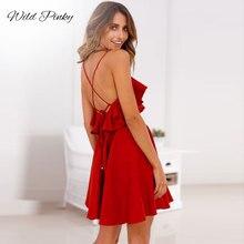 WildPinky Summer Sexy Dress Women 2019 Backless Cross Drawstring Ruffles Bundle Waist V-neck Strap Mini Red Vintage