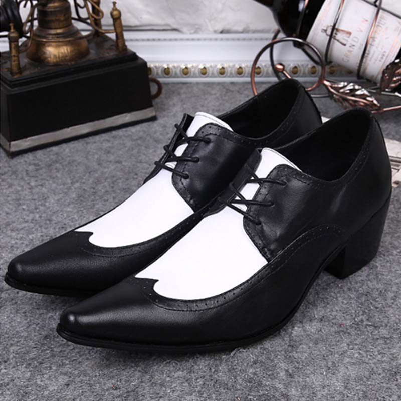 Black White Genuine Leather Mens Dress Shoes Fashion Pointed Toe Oxford Shoes For Men Formal Shoes Business Lace Up High Heels hot sale mens genuine leather cow lace up male formal shoes dress shoes pointed toe footwear multi color plus size 37 44 yellow