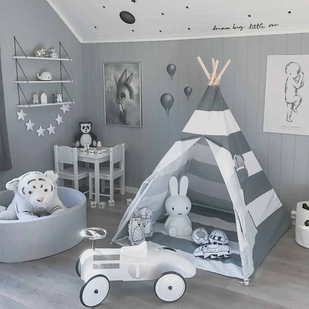 Enfants tente de jeu Tipi-100% toile de coton gris rayure enfants Tipi Playhouse avec tapis intérieur extérieur jouet garçons filles bébé cadeau - 5