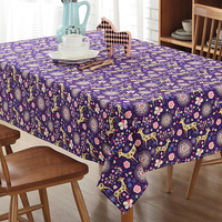 Christmas New Cotton Cartoon Table Cloth Party Living Room Dining Tablecloth Dustproof Oilproof Cover Towel Purple