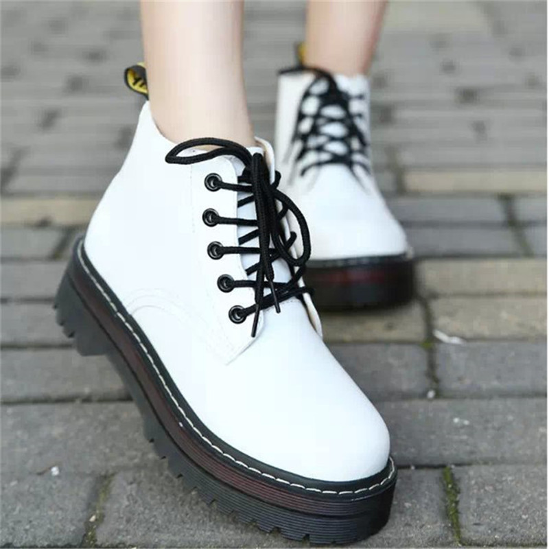 COOTELILI Winter Shoes Rubber-Boots Platform Lace-Up Women Ankle