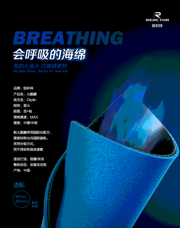 NEW Arrival CKYLIN Blue Fire Blue Sponge Table Tennis Cover / Table Tennis Rubber/ Ping Pong Rubber Send XVT Film