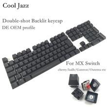 Kühle Jazz Doppel-shot Schwarz Dicken PBT DE ISO layout 108 hintergrundbeleuchtung Tastenkappen OEM Profil Keycap Für MX Mechanische tastatur